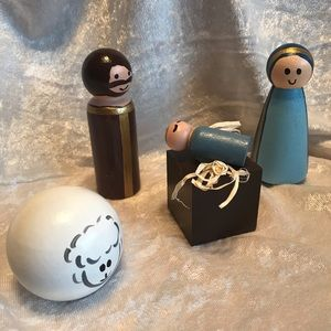 •PRICE FIRM• Handpainted 4pc. Nativity Set